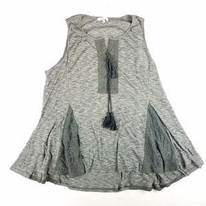 Pleione Knit Lace Up Tunic Top Size XL Sleeveless